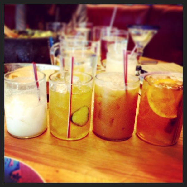 From left to right: Chilled Horchata de Coco, El Tule (w/ gin), Horchata Especial, and El Vaquero (w/ tequila and bourbon)