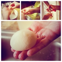 Collage of modernist burrata in the making