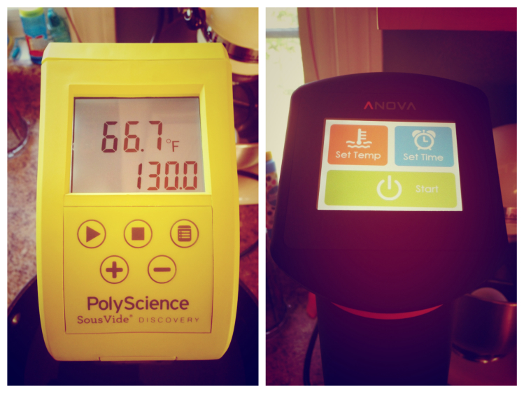 Displays of the  PolyScience Discovery (left) and the Anova Precision Cooker One