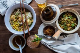 Tapas including the Matzo Ball Ramen - Photo by Andrea Merrill